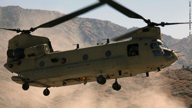 A CH-47 Chinook helicopter lands on Forward Operating Base Joyce in Kunar province, Afghanistan, March 9, 2011.